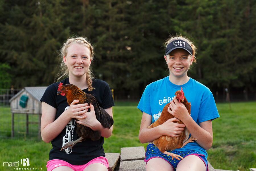 Teen photography - Corvallis - farm - chickens