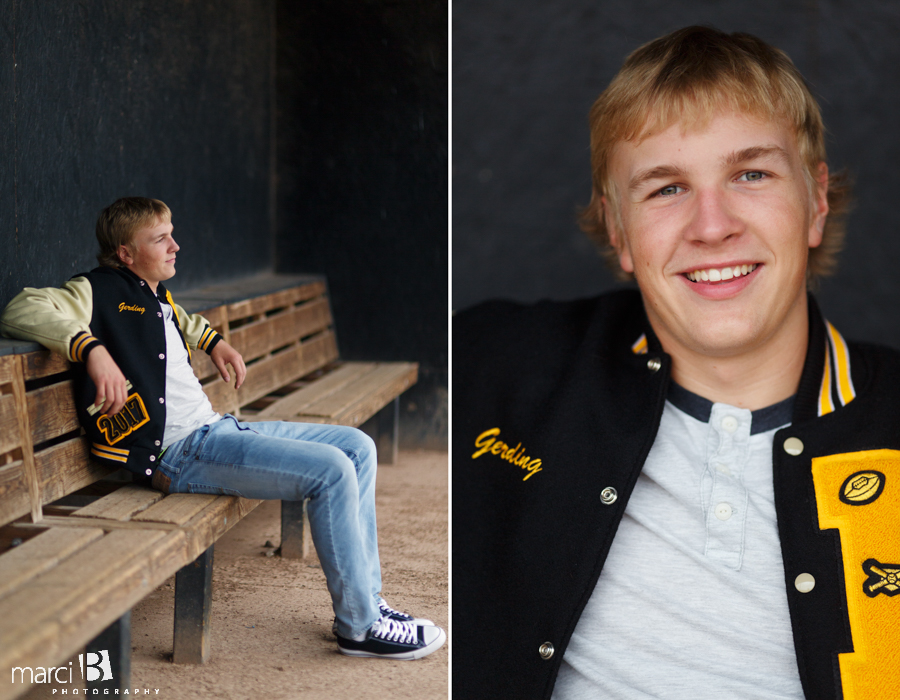 PHS baseball senior photos - dugout
