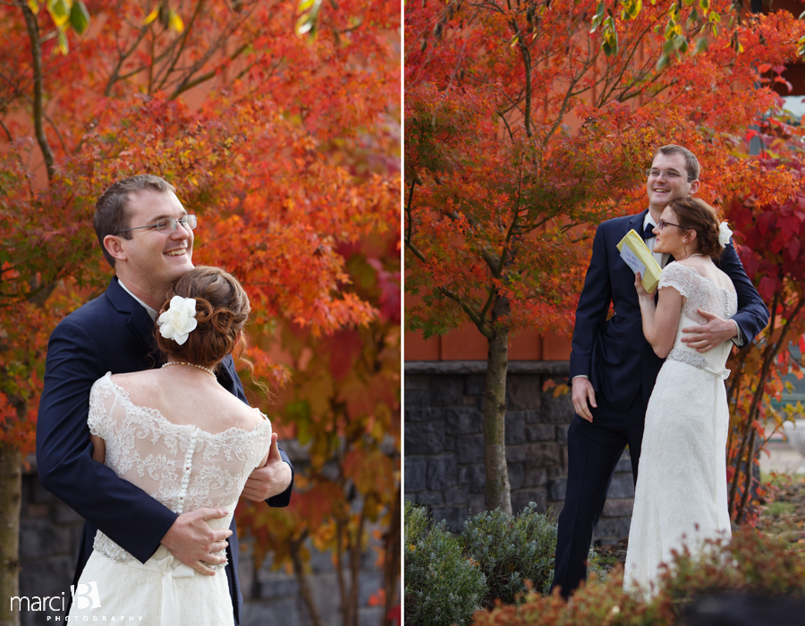 Corvallis wedding photography - first look photos - first reveal - fall colors