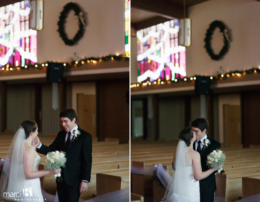 first look - groom sees bride for first time - portraits in sanctuary